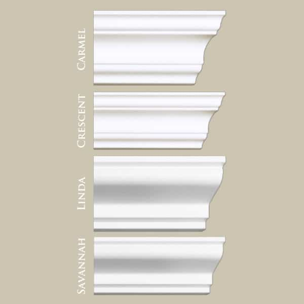 Mix Samples | Flat Back Styles Carmel, Crescent, Linda & Savannah | Foam Crown Molding