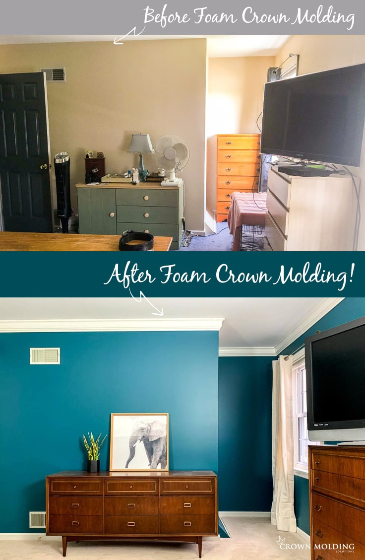 Master Bedroom Transformation with Foam Crown Molding | A Turtles Life for Me